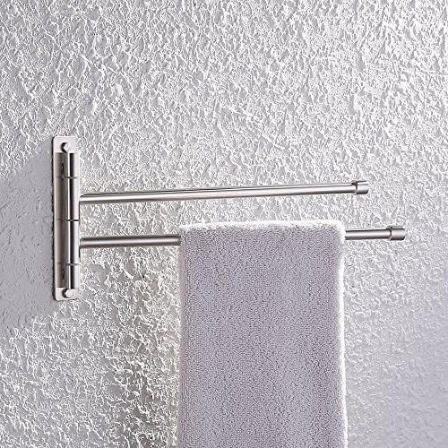 KES Bathroom Swing Towel 2-Arm Mount Shelf, Brushed SUS304