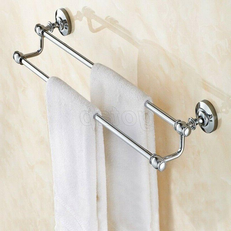 Chrome Mounted Bath Double Holder Storage