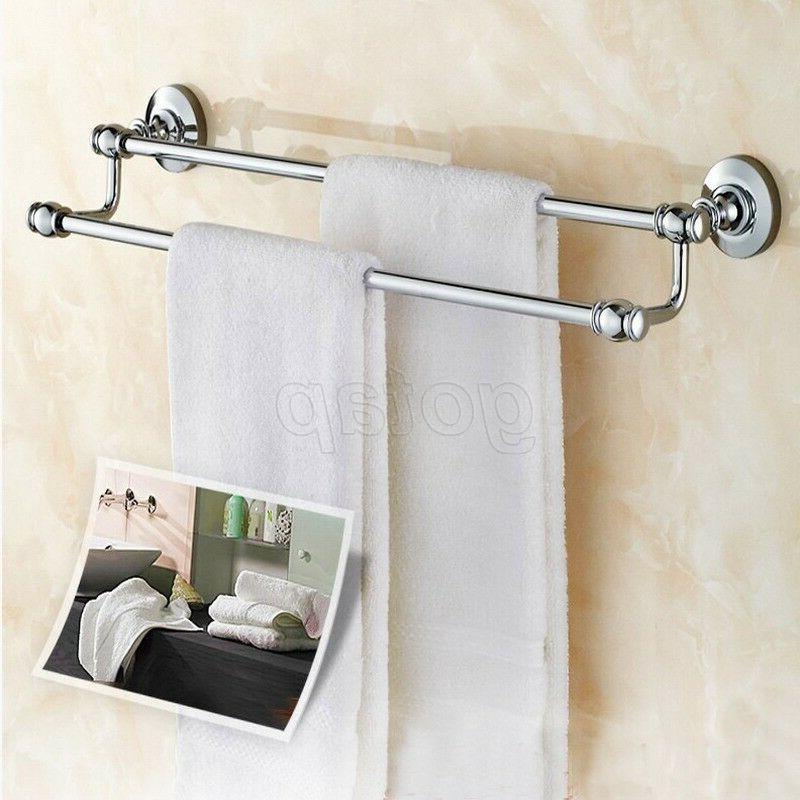 chrome wall mounted bathroom bath double towel