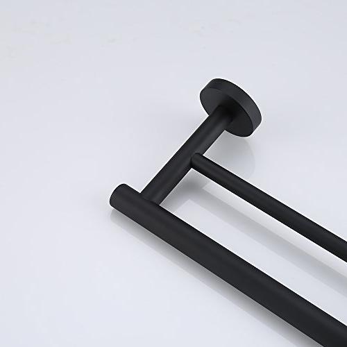 KES 24-Inch Double Towel Bar Bathroom Bath Holder Black Stainless