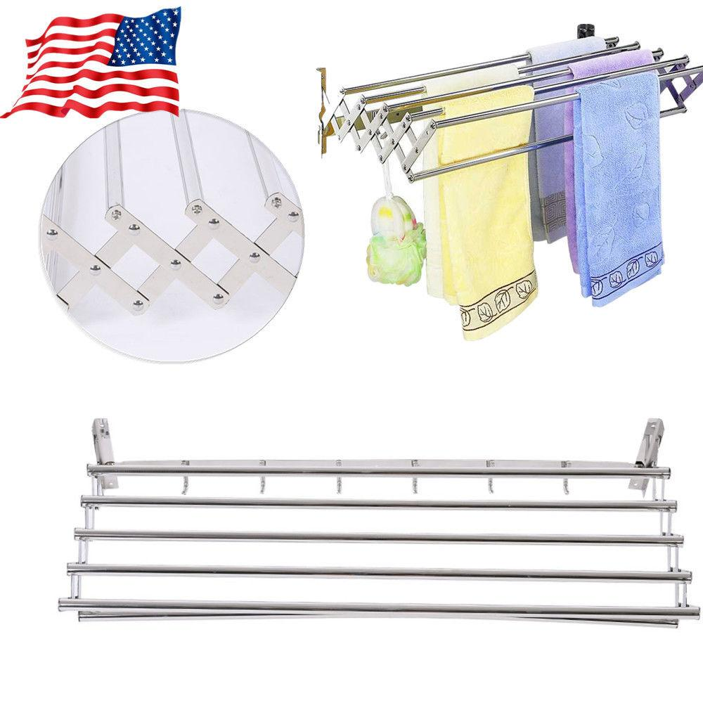 Foldable Stainless Steel Towel Rack Bar Holder