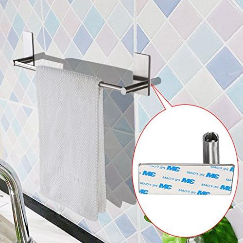 Sumnacon Self Adhesive Towel Bar Rack, 15.75 Stainless Steel Holder for Kitchen Bedroom, Contemporary Brushed