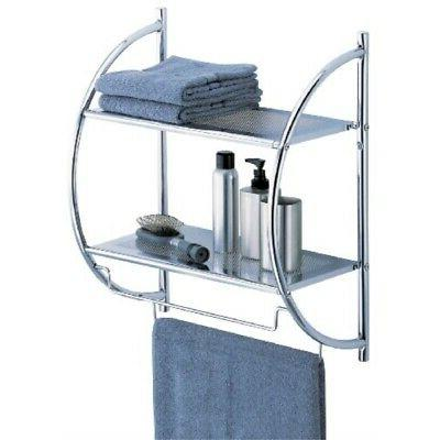 Shower Organizer 2 Tier Shelf Towel Bars Wall Mount Toilet B