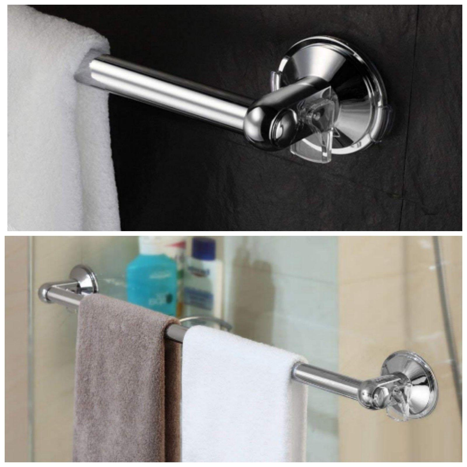 Shower Door Towel Bar Chrome Suction Mount Bathroom Rack Hol