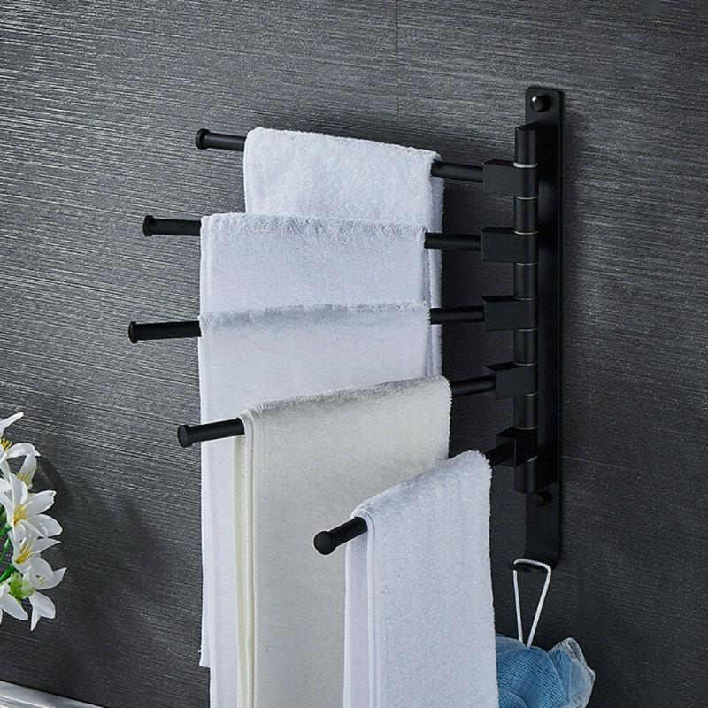 Swivel Towel Holder 5-Arm Bathroom Swing Bar Wall Mount Rack