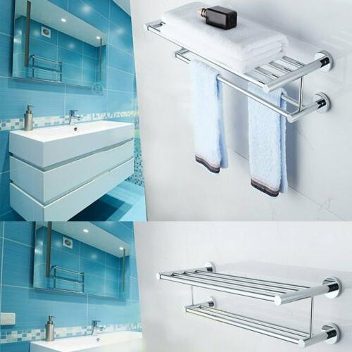 Double Chrome Wall Bathroom Towel Rail Mounted Holder Shelf