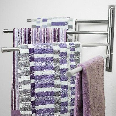 Swing Out - Steel Towel Rack Saving Towel for Bathroom with 4 To Install - Finish