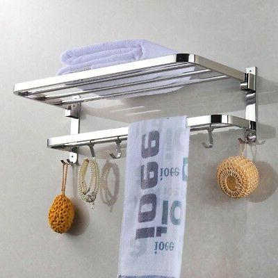 Wall Mounted Towel Rack Holder Hook Hanger Shelf Bathroom Ho