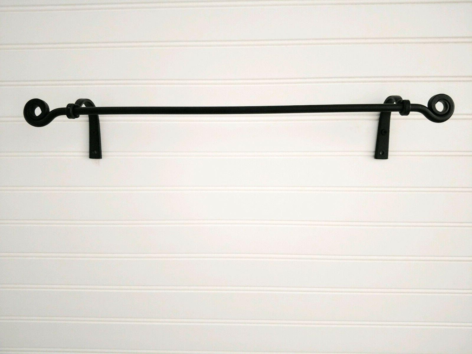 Amish forged black wrought iron small towel holder bar - str