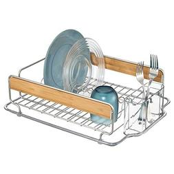 mDesign Kitchen Wire Metal and Wood Dish Drainer Organizer R