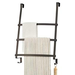 mDesign Over the Door Towel Rack with 3 Bars and 2 Hooks for