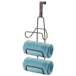 mDesign Wall Mount or Over Door Bathroom Towel Holder Bar -