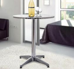 HomCom Modern Round Bar Table Adjustable Bistro Pub Counter