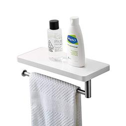 CRW Bathroom Shelf with Towel Bar Wall Mount Toilet Paper Ti
