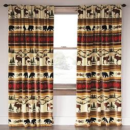 Black Forest Decor Mountain Wildlife Plush Drapes