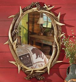 Black Forest Decor Oval Antler Mirror