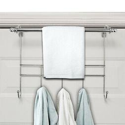 Over the Door Hook with Towel Bar Combo, Chrome Polished
