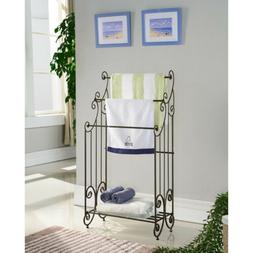 Kings Brand Furniture Pewter Metal Free Standing Towel Rack