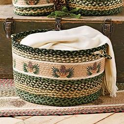 Black Forest Decor Pinecone Braided Utility Basket - Large