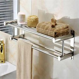 Bathroom Bath Towel Rack with Double Towel Bar Wall Mount Sh