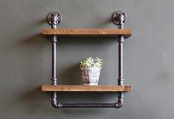 Industrial Style Bathroom Shelves with Towel Bar, Rustic Pip