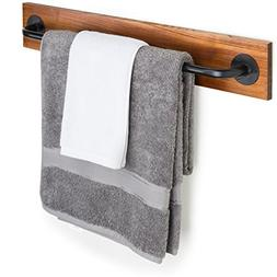Rustic Wood & Metal Wall Mounted Towel Bar/Hanging Rod Unit