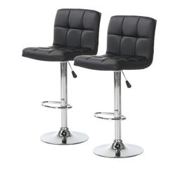 Set of 2 Bar Stools Leather Adjustable Swivel Pub Counter He