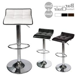 Set Of 4 Bar Stools Pub Chair Adjustable PU Leather Swivel S