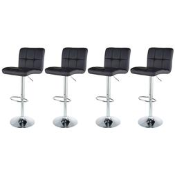 Set of 4 Counter Height PU Leather Bar Stools Adjustable Swi