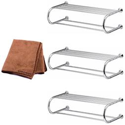 Organize It All Shelf Rack with Two Towel Bars, Set of 3 wit