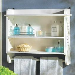 Space Saver Storage White Slatted Bathroom Hanging Wall Shel