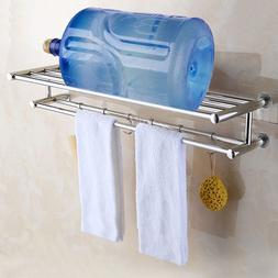 Stainless Double Towel Rack Wall Mount Bathroom Shelf Bar Ra