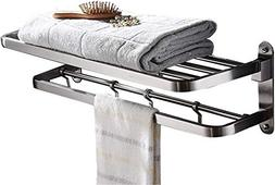 ELLO&ALLO for Bathroom Shelf Double Towel Bar Holder with Ho