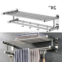 Stainless Wall Mounted Towel Rack Bathroom Hotel Rail Holder