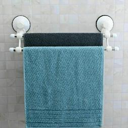 Suction Cup Wall Mounted Bathroom Double Towel Rail Holder S