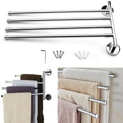 Swing 4 Arm Towel Rack Wall Bathroom Kitchen Hanger Rotatabl