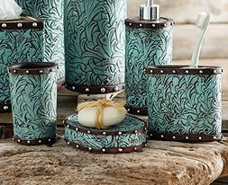 Black Forest Decor Tooled Turquoise Flowers Bath Set