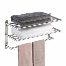 KES Towel Shelf 24 Inch 3 Tier Wall Mount Rack with Single T