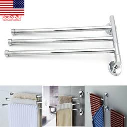 US Stainless Steel Towel Bar Rotating Towel Rack Bathroom Ki