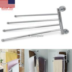 US Towel Bar Rack Holder Wall Hanger Swivel Bathroom 4 Swing