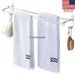 USA Alumimum Bathroom Home Towel Double Bar Rail Rack Holder