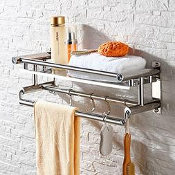 Hicy Wall Mount Chrome Bathroom Shelf with Towel Bars,Wall M