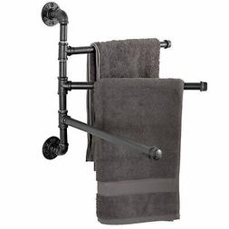 Wall-Mounted Industrial Pipe 3-Arm Swivel Towel Bar Rack, Bl