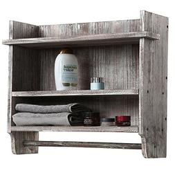 MyGift Wall Mounted Torched Wood Bathroom Organizer Rack wit