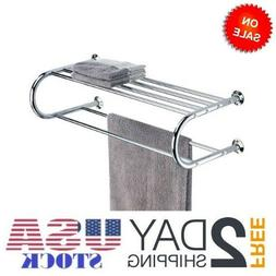 Wall Mounted Towel Rack Organize It All Shelf Bathroom Hotel