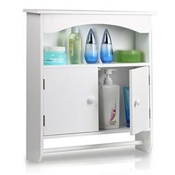 Topeakmart White Wood Bathroom Wall Mount Cabinet Toilet Med