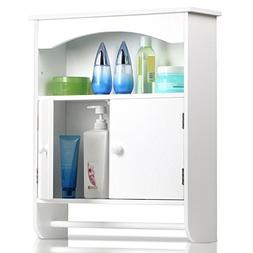 Topeakmart White Wood Bathroom Wall Mount Cabinet 2 Door Toi