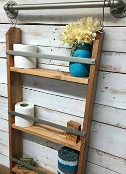 Wood Ladder Shelf- Wooden Wall Shelf, rustic bathroom shelf,