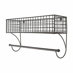 Home Traditions Z02223 Rustic Metal Wall Mount Shelf with To